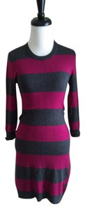 French Connection short dress Burgundy and Grey Striped Knit on Tradesy