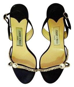 Jimmy Choo Evening Crystals Satin Black Sandals