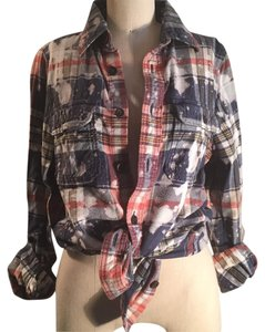 Abercrombie & Fitch Button Down Shirt Plaid : navy, cream, rust