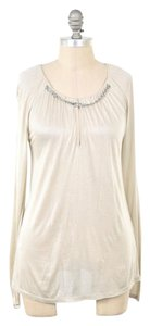 Max Mara Shimmery Tissue-weight Longsleeve Chain Neck Top Champagne