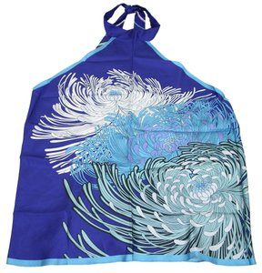 Gucci Silk Flower Print Scarf Blue Halter Top