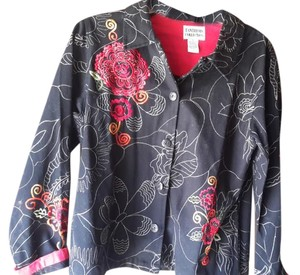 Tantrum Black denim embroidered Womens Jean Jacket