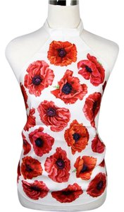 Gucci Silk Scarf Halter Floral White/Red Halter Top