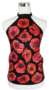 Gucci Silk Scarf Halter Floral Black/Red Halter Top