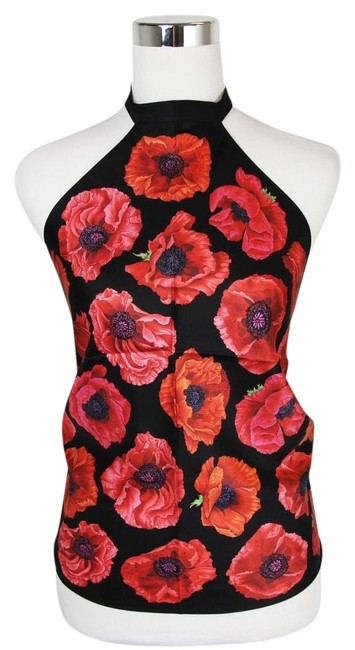 Item - Black/Red New Poppy Silk Floral Scarf 327378 1074 Halter Top Size OS (one size)
