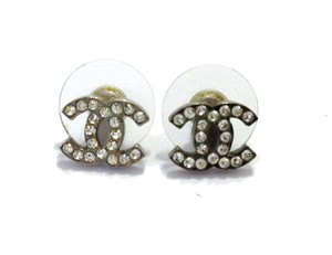 Chanel #8575 CC Clear crystals mini on Silver hardware pierced stud earrings