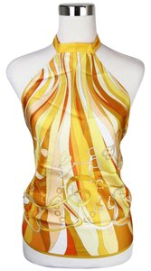 Gucci Silk Scarf Halter Floral Yellow Halter Top