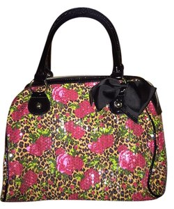 Betsey Johnson Purse Satchel in Leopard, Rose Sequin