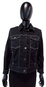 7 For All Mankind Button Down Collared Dark Wash Womens Jean Jacket