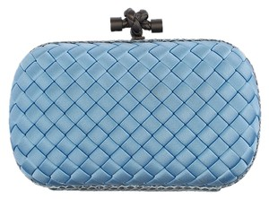 Bottega Veneta Satin Python Woven Blue Clutch