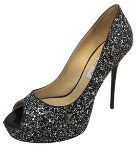 Jimmy Choo Black/Silver glitter/metallic Pumps