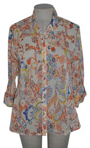 KUT from the Kloth Floral Casual Semi-sheer Roll Sleeve Top