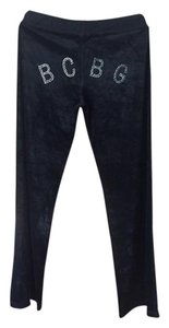 BCBGMAXAZRIA BCBG Velour pants with Rhinestone Logo