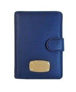 Michael Kors Jet Set Passport Travel Wallet Card Case NWT Navy Blue Leather