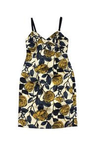MILLY short dress Cream Yellow Blue Silk Floral Sleeveless on Tradesy