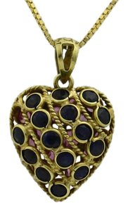 Pink and Blue Sapphire Double Sided Heart Pendant- 14k Yellow Gold