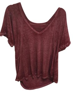 Free People Hobo Burnout Vintage Off T Shirt Burgandy