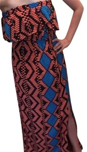 Maxi Dress by My Beloved Print Maxi Coral Blue