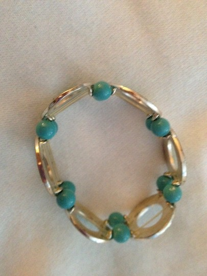 unknown Vintage Silver & Turquoise Bracelet. Bought in the 80's; Still Looks the SAME! Stretches to fit any size.