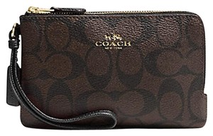 Coach Coach Signature Double Corner Zip Black Brown Wristlet