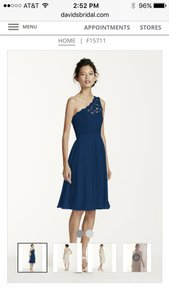 David's Bridal Marine (Navy) Short One Shoulder Lace Dress F15711 Dress