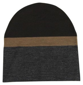 Gucci New Gucci Brown Gray Wool Beanie Hat w/Logo Size XL 353999 2162