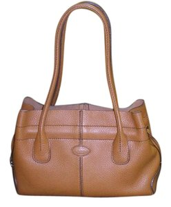 Tod's White Grained Leather Tote in brown