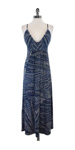 Maxi Dress by BCBGMAXAZRIA Blue & White Spotted Spaghetti Strap Maxi