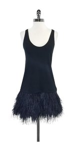 Theory short dress Black Cotton Bodycon Feather Hem on Tradesy