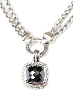 David Yurman David Yurman Smoky Quartz Diamond Pendant & Silver Double Wheat Chain