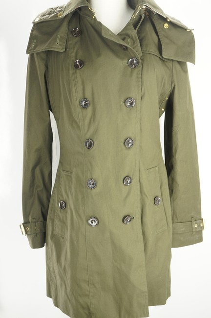 Item - Green W Cotton Reymoore Trench W/ Detachable Hood & Liner Coat Size 12 (L)