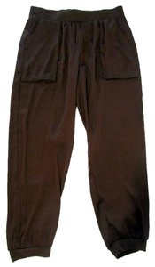 ivy jane Pull On Faux Silk Casual Baggy Pants Brown