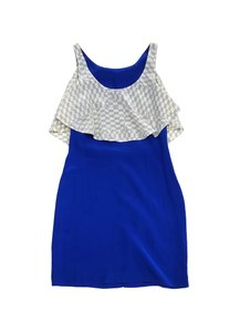 Vena Cava short dress Cobalt Blue Grey Checkered Silk on Tradesy