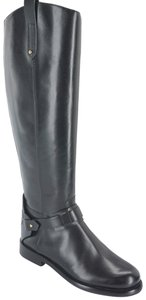 Tory Burch 6073002 Logo Strap Pull On Cut Out Logo Black Boots
