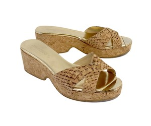 Jimmy Choo Tan Cork Sandal Platform Wedges