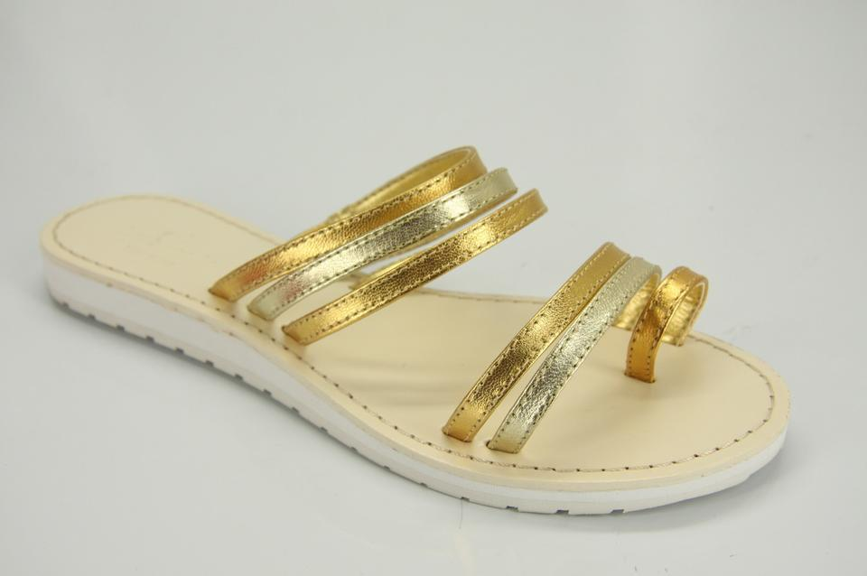 f48c1a59b Kate Spade Gold Metallic Silver Leather Strappy Flip Flop Beach Sandals.  Size  US 7 Regular (M ...
