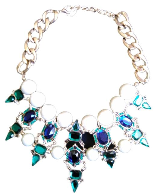 Item - Green/Blue/Pearls Statement Necklace