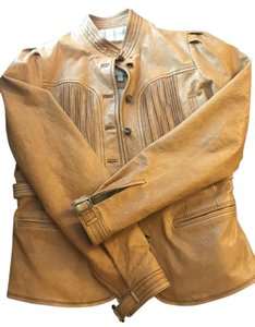 Tracy Reese Leather Casual Camel Leather Jacket