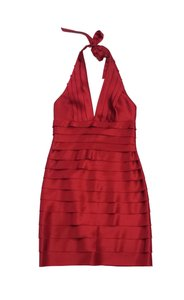 BCBGMAXAZRIA short dress Red Satin Layered Halter on Tradesy
