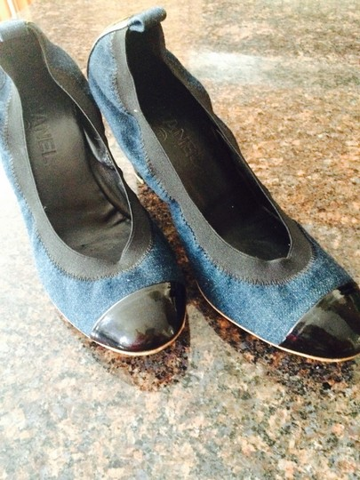 Chanel Navy with Black Patent Leather Toe Pumps