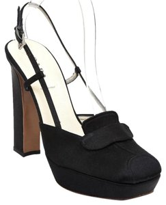 Prada Satin Slingback Black Platforms
