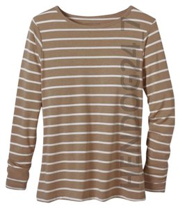 Coldwater Creek T Shirt CARAMEL W/CREAM STRIPES