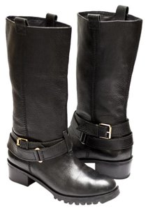 Diane von Furstenberg Leather Motorcycle Edgy Black Boots