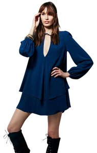 Free People Swing Longsleeve Plunging Neckline Two Tiered Dress