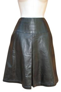 Chanel Leather A-line Fall Spring Skirt Black Metallic