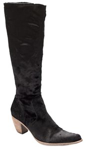 Elizabeth and James Pointed Toe Velvet Mohair Black Boots
