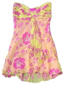 Ginger & Java Floral Flowy Bright Silk Dress