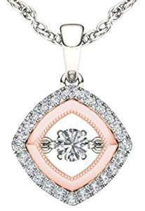 Elizabeth Jewelry 10Kt White Gold Diamond in Motion Two Tone Rose Gold Pendant