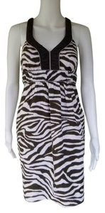 Banana Republic short dress Brown Linen Zebra Striped on Tradesy