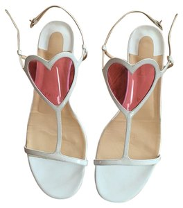 Christian Louboutin cora flat white pink sandals 41.5 Sandals
